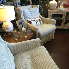 Swivel slipcover chairs