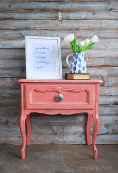 Scandinavian Pink Frenchy :: Annie Sloan Chalk Paint :: Themed Furniture Makeover Day - brepurposed