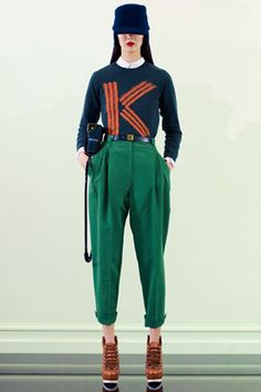 We're not usually ones for monogram, but there's something so charming about this Kenzo piece that colorblocks a navy sweater (and cap!) with a pair of perfectly pleated emerald trousers.    Photo: Courtesy of Kenzo