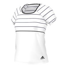 adidas Women's Tennis Premium Tee, Large, White. Climalite fabric sweeps sweat away from your skin. Rounded neck for comfort. Raglan sleeves for freedom of movement. Engineered fabric provides best fit and function. Slim fit styling.