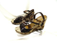 Coach A3045 Rose Wedge Sandals shoes Signature C size 6B Brown woven leather  #Coach #Strappy #Casual