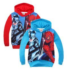 2016 Spiderman/Batman Children hoodie outwear Cartoon Spider man Printed Character sweatshirt Long Sleeve coat Christmas