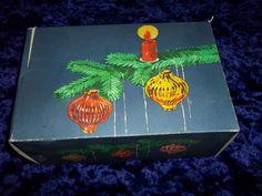 6 bunte alte Weihnachtskugeln,Lauscha mit original Karton Thüringen DDR