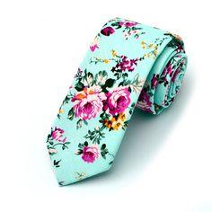 Aqua Floral Skinny Tie by MYTIESHOP on Etsy
