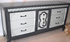 dresser painted white and gray// light and dark gray with white highlights