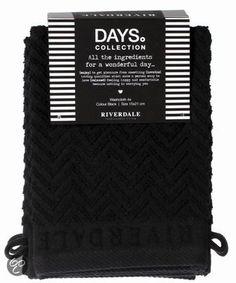 Riverdale Washandjes - Days - Zwart - Set van 4