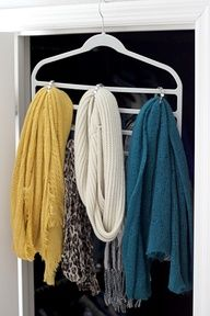 One of my favorite organizing tools to simplify your life! A tiered pant hanger for scarves. Check out the other ways you can use a pant hanger to organize your home.