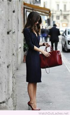 Simple black dress and burgundy accessories