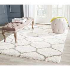 Safavieh Hudson Diamond Shag Ivory Background and Grey Rug (6' x 9')   Overstock.com Shopping - The Best Deals on 5x8 - 6x9 Rugs
