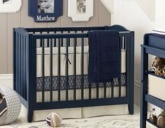 Navy Linen Mini Crib | Pottery Barn Kids