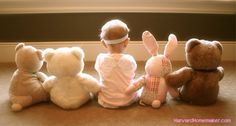 Fun Photo Ideas - Line Baby Up with Stuffed Animals in Front of a Sunny Window to Show Scale
