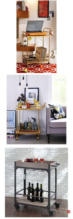 "Excellent ""gold bar cart decor"" info is offered on our site. Interior Design Living Room, Living Room Decor, Interior Decorating, Bedroom Decor, Dining Room, Decorating Ideas, Decor Ideas, Bar Cart Decor, New Room"