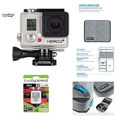 GoPro HERO3+ SILVER 10MP Full HD 1080p 60fps Built-In Wi-Fi Waterproof Wearable Camera Adventure 32GB Edition with GoPole Venturecase Weatherproof Softcase