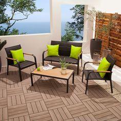 Salon de jardin bas 4 places en acier : canap  + 2 fauteuils + ...