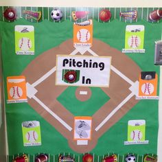 """Class job board. """"pitching in"""" for a sports theme. Jobs are on pockets so that you can put Popsicle sticks"""