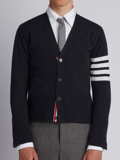 V-Neck Cardigan With 4-Bar Stripe In Dark Grey Cashmere