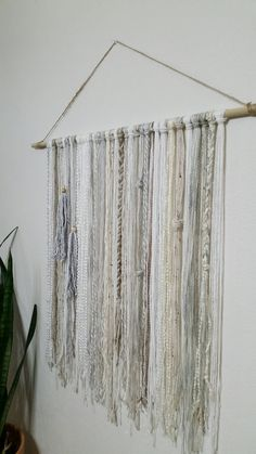 Bohemian YarnTapestry - Beige, Gray, and white.  This tapestry makes a great wall decor!  Sizes: Medium: Length 18 x height 32 medium/large: Length 24(2ft) x height 32 large: Length 36(3ft) x height 32 Extra large: Length 48(4ft)x height 32  I spend a lot of time browsing for unique and good quality yarn. I love to mix different textures and sizes to give the tapestry more depth and dimensions. I have begun to see my tapestries as an art form!  I do love custom orders. It gives me the op...