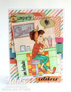 Hilda Designs: Reto #59 en LA&C: Tarjeta Combo Color Retro