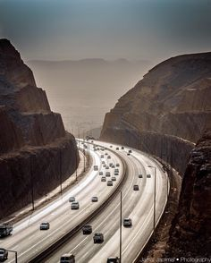 """""""⠀⠀⠀⠀⠀ ✦ Misty day, at last I found an entry to drive to the top of this  incredible highway, at the west edge of Riyadh on Makkah road, Saudi_Arabia .…"""""""