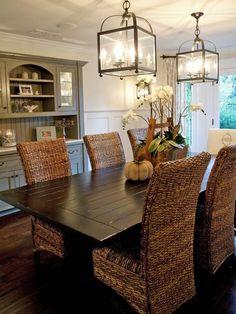 Wicker Chairs + Farmhouse table