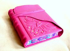 Pink Leather Journal Sculpted Ornate Relief Leather by Leatherdust