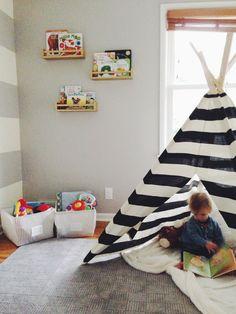 kids room- teepee is a must. IKEA spice racks as book shelves.