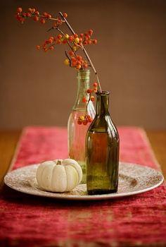 .Wine bottle used as vase
