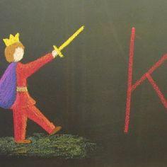 Waldorf ~ grade ~ Letter: K ~ King The Water of Life Teaching Abcs, Preschool Literacy, Homeschool Kindergarten, Teaching Resources, Homeschooling, Blackboard Drawing, Chalkboard Drawings, Chalk Drawings, Letter G Activities