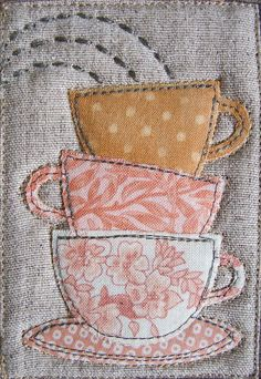 """TeaTeaTea"" MugRug by Patchwork Pottery Wish I had seen this the year we did our mug rug Christmas exchange! Mini Quilts, Small Quilts, Sewing Appliques, Applique Patterns, Quilt Patterns, Canvas Patterns, Free Motion Embroidery, Embroidery Applique, Machine Embroidery"