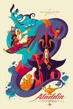 "Aladdin by Tom Whalen - See the Full Mondo Disney Poster Gallery for ""Nothing's Impossible! Disney Pixar, Disney Animation, Disney E Dreamworks, Art Disney, Disney Artwork, Disney Magic, Disney Films, Disney Jasmine, Princess Jasmine"