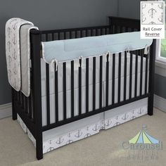 Crib bedding in Silver Gray Minky, Solid Robin's Egg Blue, Gray Watercolor Anchors, White and Gray Bird Cage, Solid Silver Gray. Created using the Nursery Designer® by Carousel Designs where you mix and match from hundreds of fabrics to create your own unique baby bedding. #carouseldesigns