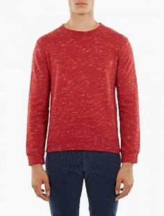 A.P.C. Red Cotton Jeremie Sweatshirt The A.P.C. Cotton Jeremie Sweatshirt for AW16, seen here in red. - - - This sweatshirt from A.P.C. is crafted from premium cotton and cut to offer a relaxed fit. Featuring a unique flecked texture run http://www.MightGet.com/january-2017-13/a-p-c-red-cotton-jeremie-sweatshirt.asp