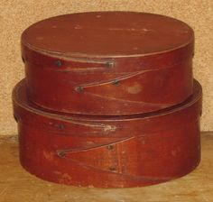 6.5in long (larger box) RARE PAIR 19TH C OVAL HARVARD SHAKER COMMUNITY PANTRY BOXES ORIGINAL RED STAIN