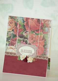 Floral Bordeaux Handmade Card with Paper by BeautyfromashesUSA, $5.00