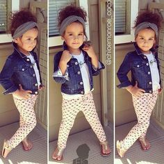 Leggings, sandals, t-shirt, denim jacket, boho head wrap. Effortless casual and gorgeous!