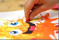 Blow paint monsters have them use a straw for body, face and legs- HOW FUN! School Art Projects, Projects For Kids, Art School, Class Projects, Kids Crafts, School Ideas, Kindergarten Art, Preschool Art, Blow Paint