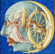 The Moon, Broeder Gheraerts Naturkunde, Utrecht, 15th century. Wolfenbüttel, Herzog August Bibliothek, Cod. Guelf. 18.2 Aug. 4°, fol. 123r