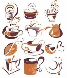 misc coffee draft line elements  draw ink art