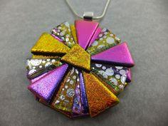 Handmade Crazy Daisy in Purple & Orange Dichroic Glass Pendant & Chain