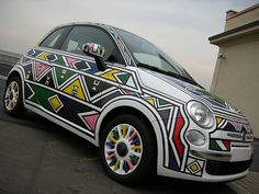 Fiat 500 by Esther Mahlangu South African Design, South African Artists, Fiat 500 Pop, Fiat Cars, Tomorrow Is Another Day, Dream Cars, Street Art, Xhosa, Kitenge