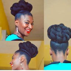 15 Creative and Gorgeous Natural Hair Updo Style Ideas The possibilities are beautiful and this natural hair updo style gallery proves it! See 15 ideas for your next special event, celebration, and more! Natural Hair Bun Styles, Cute Natural Hairstyles, Natural Hair Updo, Braided Hairstyles, Wedding Hairstyles, Curly Hair Styles, Protective Hairstyles, Protective Styles, Business Hairstyles