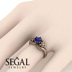 Rose Gold Engagement Ring by Segal Jewelry Elegant Engagement Rings, Deco Engagement Ring, Gemstone Engagement Rings, Rose Gold Engagement Ring, Blue Sapphire Rings, Blue Rings, Ruby Rings, Silver Wedding Bands, Art Deco