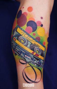 Old school tattoo ideas, polka dots, color tattoos, music tattoos, ivana belakova, art, old school, tape, ink