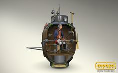 Wow, what is this man doing in this machine? Discover it in #Monzo! #Submarine