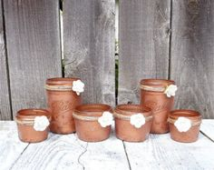 15 - mariage cuivre pots - décorations de mariage Shabby Chic Upcycled Country, des Vases et des bougeoirs