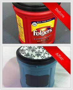 Repurpose plastic coffee containers to store crafts! Plastic Coffee Cans, Plastic Coffee Containers, Reuse Containers, Storage Containers, Folgers Coffee Container, Coffee Can Crafts, Fun Crafts, Diy And Crafts, Sewing Room Storage