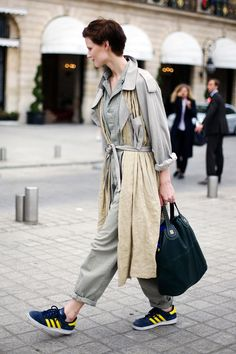 Saskia de Brauw // Derek Lam trench, Calvin Klein jumpsuit, Givenchy bag, Adidas shoes // photographed by Phil Oh