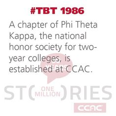 #TBT 1986: A chapter of #PhiThetaKappa the national honor society for two-year colleges is established at #CCAC. #CCAC50 #CCAChistory #50yearsofeducation #ThrowbackThursday