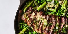 One-Skillet Steak and Spring Veg with Spicy Mustard recipe | Epicurious.com
