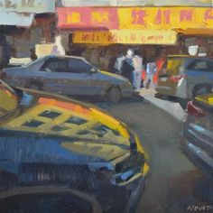 "Daily Paintworks - ""Reflecting on Chinatown"" - Original Fine Art for Sale - © Carol Marine Time Painting, San Francisco Travel, City Art, Fine Art Gallery, Night Time, Art For Sale, Reflection, Scene, Artwork"